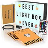 Cinema Light Box with Letters - Marquee Light Up Letter Board - 16 Dimmable remote-controlled colored light options - Color Changing Lightbox Sign With 167 Black lighted Letters And 185 Colorful Emoji