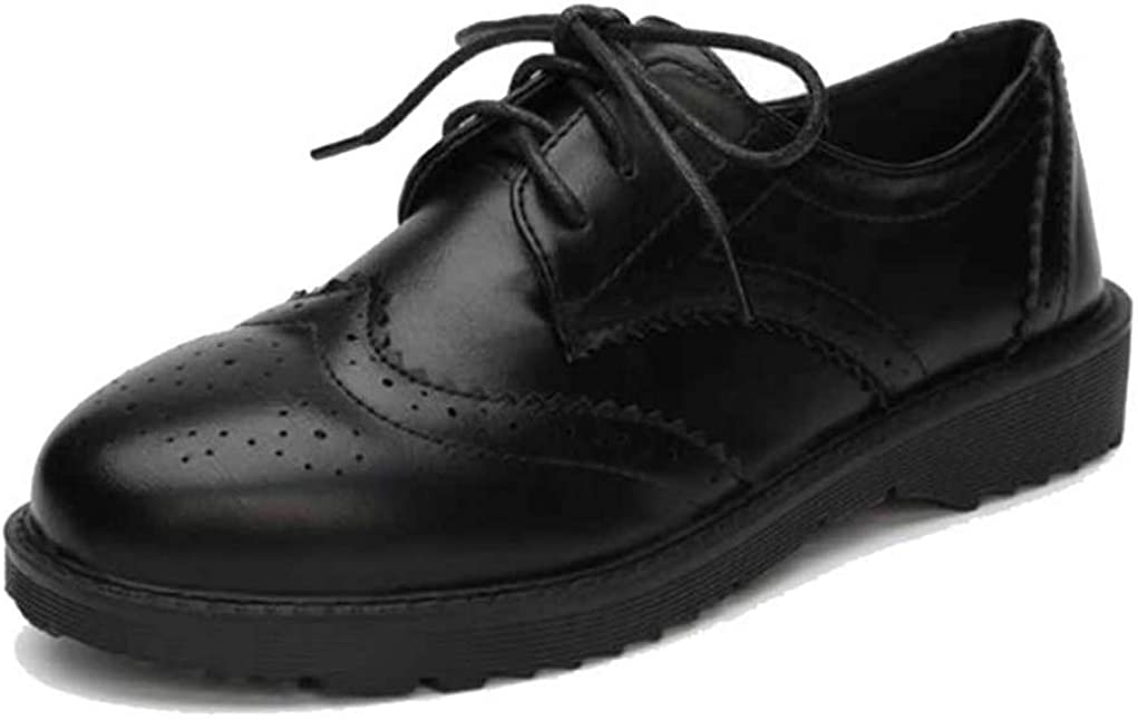 Mujeres Zapatos Oxford Gruesos con Estilo brit/ánico Zapatos Individuales Primavera y oto/ño Encaje Superficial Boca universitaria Estilo Zapatos de Estudiante Salvajes Casuales