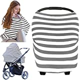 KeaBabies Carseat Canopy Cover - Baby Car Seat Canopy All-in-1 Nursing Breastfeeding Covers Up - Baby Car Seat Canopies For Boys, Girls - Stroller Covers - Shopping Cart Cover (Gray)