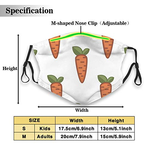 PJKOGMBJ Farm Food Carrot PM2.5 Mouth Face Masks,Effective Powder and Dust Mask,N95 Mask Washable and Reusable Double Layered Face Mask -Free Two Filters