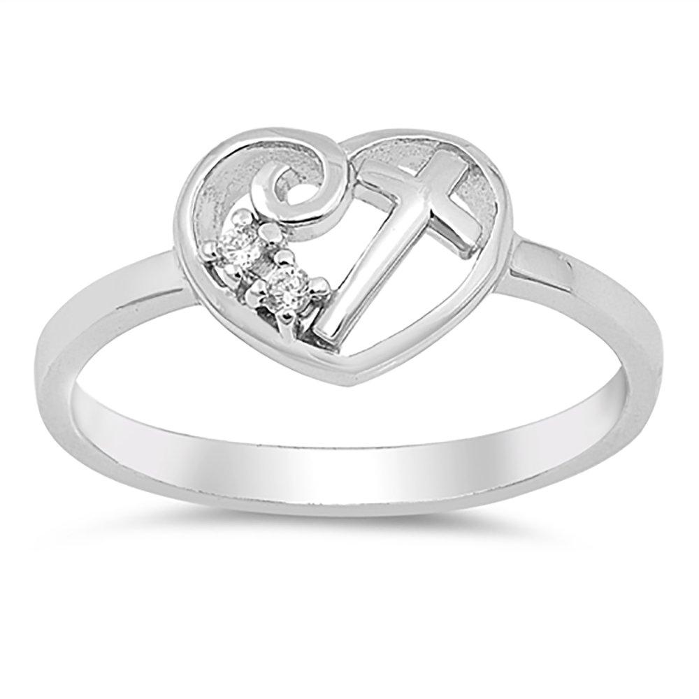 Sterling Silver Clear CZ Cubic Zirconia Cross in Heart Ring - Size 6
