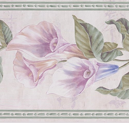 Purple Blue Flowers on Vine Floral Wallpaper Border Retro Design, Roll 15' x 7''