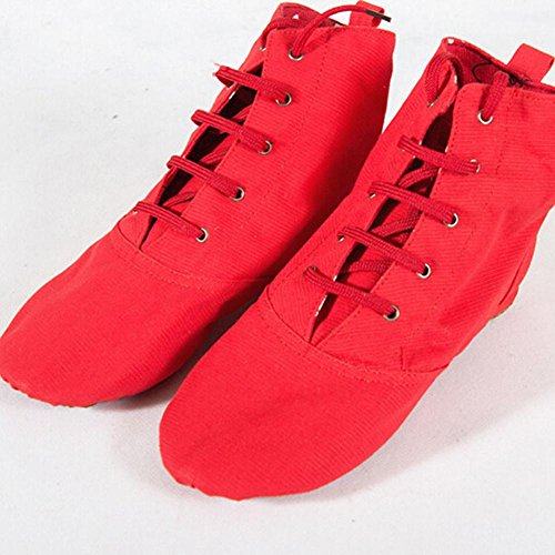 Modern Jazz Soft Stage up Homieco Canvas Boot Dance Shoes Sole Ballet Red Lace Unsex XnqTna5