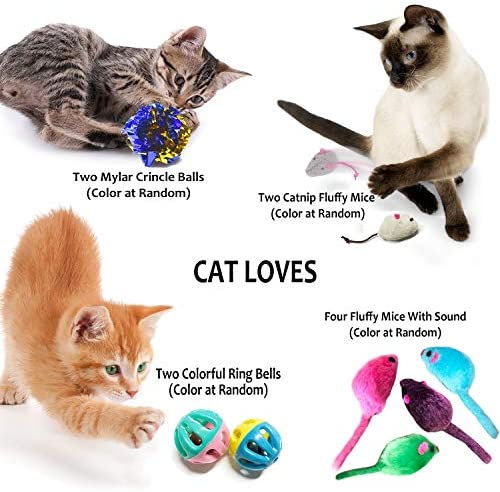 PETOY Cat Toys Set, Cat Retractable Teaser Wand, Catnip Fish, Interactive Cat Feather Toy, Mylar Crincle Balls, Two Cotton Mice, Two Fluffy Mouse 5