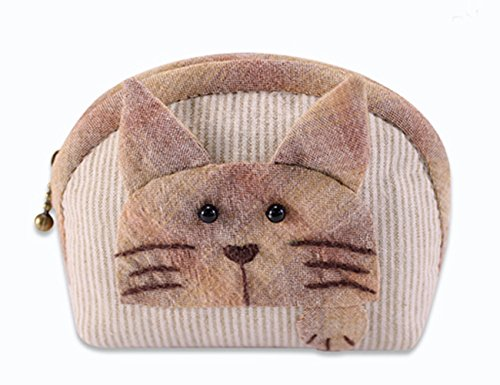 Girl Sewing Kit Sewing Craft With Animals Precut Sewing Project Cat Purse Making Kit (Brown)