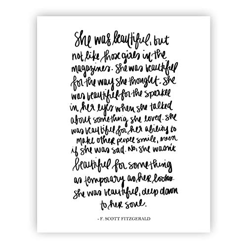 She Was Beautiful F Scott Fitzgerald Print Art | Love Quotes Inspirational Gallery Wall Office Accessories Home Decor Wedding Gift