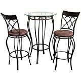 Home Source Industries Fancy Bistro Decorative Metal Pub Table with Glass Top and 2 Stools, Black