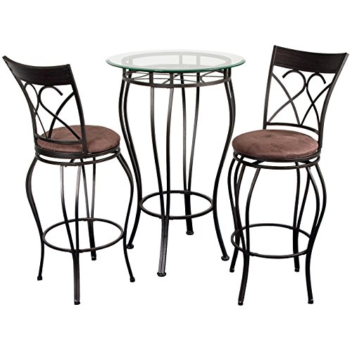 Bistro Fancy Dining Set (Home Source Industries Fancy Bistro Decorative Metal Pub Table with Glass Top and 2 Stools, Black)