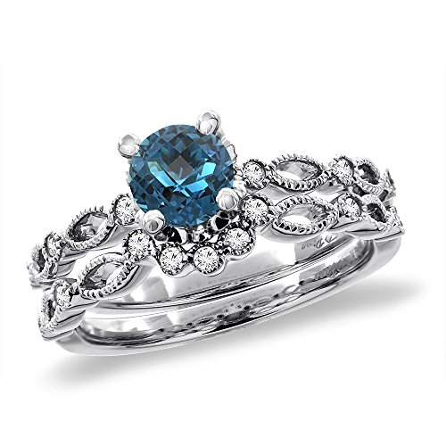 14K White Gold Diamond Natural London Blue Topaz 2pc Engagement Ring Set Round 5 mm, sizes 5 – 10