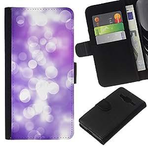 KLONGSHOP // Tirón de la caja Cartera de cuero con ranuras para tarjetas - White Lilac Purple Reflexión Focus brillante - Samsung Galaxy Core Prime //