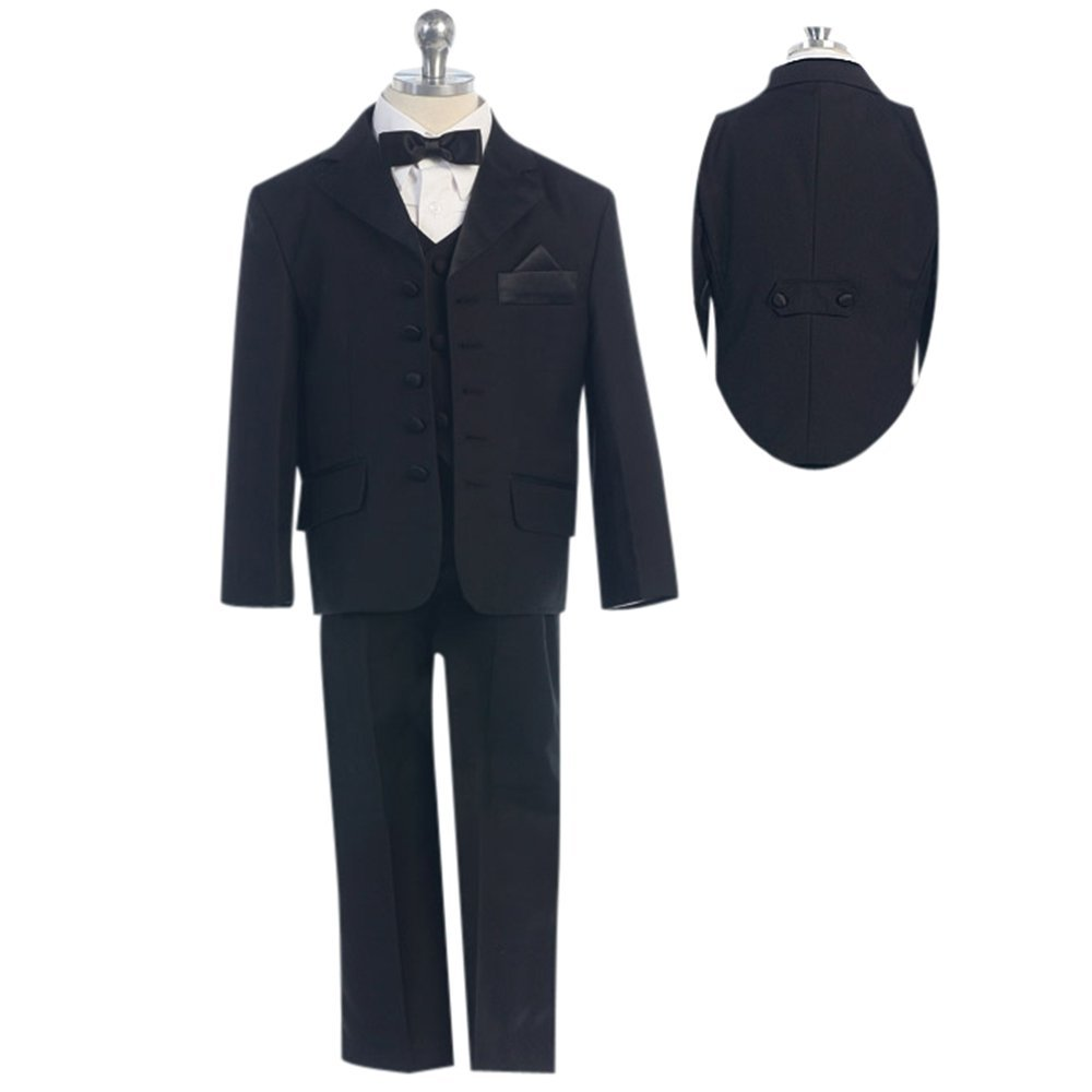 HBDesign Boys' 3 piece 5 Button Slim Trim Fit Casual Suite Black by HBDesign