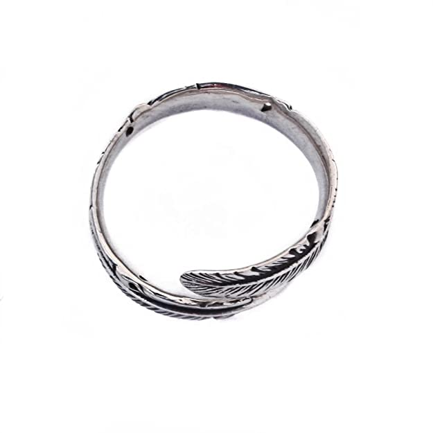 Sterling Silver Adjustable Feather Ring Band L to R (R006) SsdYZ