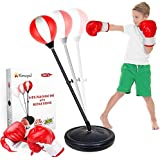 KMUYSL Punching Bag for Kids, Boxing Bag Set for Age 5,6,7,8,9,10, Height Adjustable Punching Bag Incl Boxing Gloves, Best To