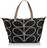 Orla Kiely Core Linear Zip Shopper Shoulder Bag, Black/Cream, One Size
