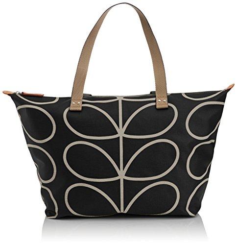 Orla Kiely Core Linear Zip Shopper Shoulder Bag, Black/Cream, One Size (Zip Shopper Bag)