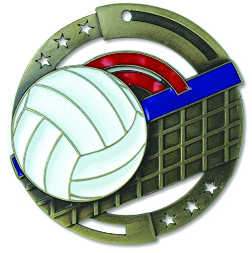 Gold Volleyball M3XL Die Cast Medal - 2.75 Inches - Includes Red, White & Blue V-neck Ribbon