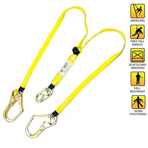 Spidergard SPLD201 6 ft Energy-Absorbing Double Leg Lanyard with One Snap Hook and Two Rebar Hooks ()