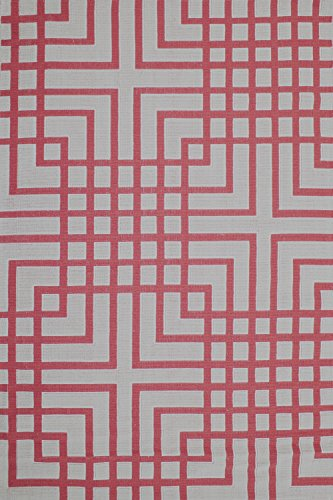 Cotton Rug Machine Washable Area Rugs 4x6 and 6x9 sizes Modern Design Squares (6' x 9', Coral)