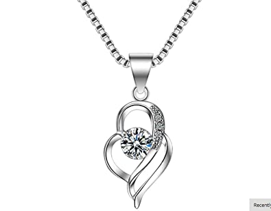 f010d9feea9 Buy Pihu Creation Heart Pendant Choker Necklace 925 Sterling Silver Chain  Necklaces for Women Fine Jewelry Gifts Online at Low Prices in India    Amazon ...