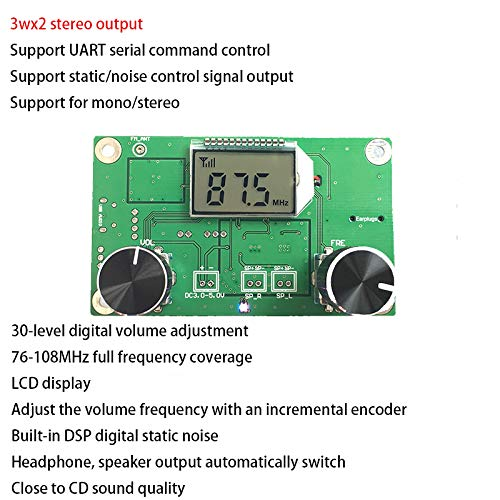 Anmbest DC 3-5V PLL DSP Digital FM Stereo Radio Wireless Village Campus Broadcast Receiver Module with LCD Display by Anmbest