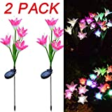 SUKEQ Outdoor Solar Garden Stake Lights, 2 Pack Solar Powered Decorative Multi-color Changing LED Lights with 8 Lily Flower for Patio, Garden, Backyard (Red + Red)