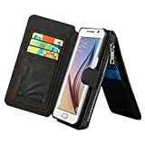 Luxury Leather Wallet Case for Samsung Galaxy Note 5,Generic Multi-function 2 in 1 Detachable Zipper Design Magnetic Leather Folio Flip Wallet Stand Cover with Card Slots + Stylus Pen(Black)