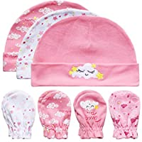 GLEAMING GRAIN Baby Mittens and Caps Set Infant Gloves and no Scratch Mittens Newborn Gift 7 Piece Set for Baby Girls Pink 0-6 Months