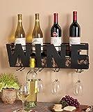 Metal Wall Mount Wine Bottle Rack: Hold Wine Corks & Wine Glasses by LTD