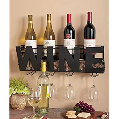 Metal Wall Mount Wine Bottle Rack: Hold Wine Corks & Wine Glasses by LTD