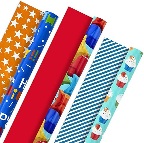Hallmark All Occasion Reversible Wrapping Paper Bundle - Kids Birthday (3 Rolls - 75 sq. toes. ttl) Balloons, Stars, Cupcakes, Blue Stripes, Solid Red