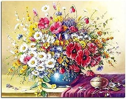 Azafrán Flores Blancas Pintura De Mesa Por Números Bodegón Coloreando Por Números Con Marco 40x50cm