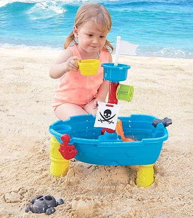 Liberty Imports Pirate Ship Beach Sand and Water Play Table for Kids with Shovel, Rake, Sand Wheel, Mini Boat, Shape Molds and More by Liberty Imports (Image #4)