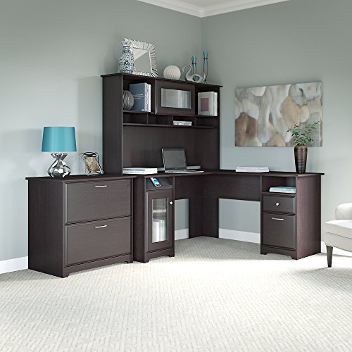Cabot L Shaped Desk with Hutch and Lateral File Cabinet in Espresso Oak by Bush Furniture