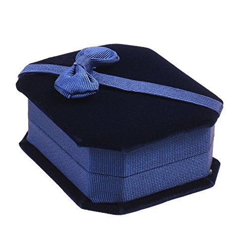 Cosmos Blue Color Velvet Necklace Pendant Gift Box Octagonal Jewelry Box with Bow