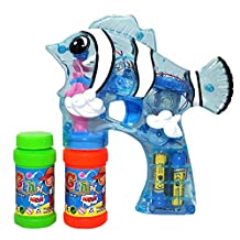 Haktoys (New Edition) 1800F Cartoon Fish Bubble Shooter Gun Transparent with LED Lights (NO Sound), 3 x AA Batteries, and Extra Bottle - Colors May Vary
