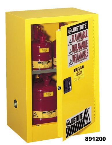 "Justrite 891225 Sure-Grip EX Galvanized Steel 1 Door Self Close Flammable Compac Safety Storage Cabinet, 12 Gallon Capacity, 23-1/4"" Width x 35"" Height x 18"" Depth, 1 Adjustable Shelfs, White"