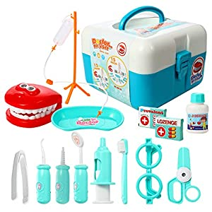 ThinkMax Play Doctor Kit for Kids, 15 Pieces Pretend Play Dentist Medical Set Toys Toddlers Halloween Custome Playset, Games Prizes, Doctor Roleplay (Blue)