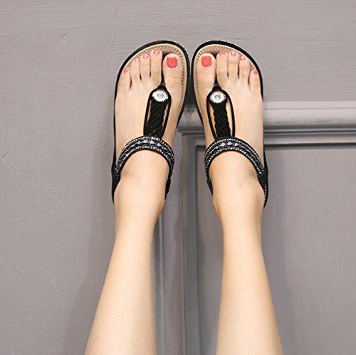 Sandales Talons Plates Ouvertes pour Femmes Tongs Strass Bohême Sandale Plage Casual Antidérapante 36-44 Noir Jq29sq