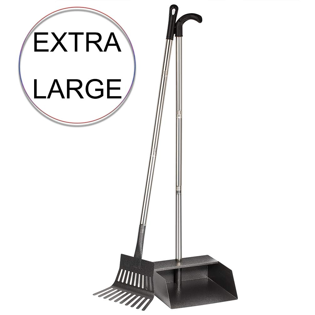 Yangbaga Upgraded Dog Pooper Scooper for Large Dogs, Stainless Steel Pet Poop Tray with Rake, 39.2 in Long Handle Detached into 3 Pieces, Heavy Duty Dog Pooper Scooper by Yangbaga