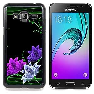 Floral Flowers Minimalist Green Pink Caja protectora de pl??stico duro Dise?¡Àado King Case For Samsung Galaxy J3