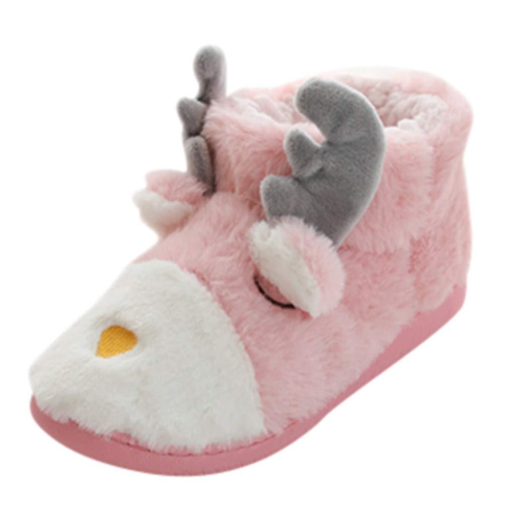 Women's Super Soft Winter Warm Faux Fleece Fuzzy Ankle Bootie Christmas Home Socks Shoes (US:7.5-8.0, Pink) by sweetnice Women/Men Slippers