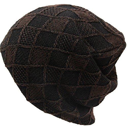 Exas Argyle  Argyll  Knit Cap Beanie Watch Brown