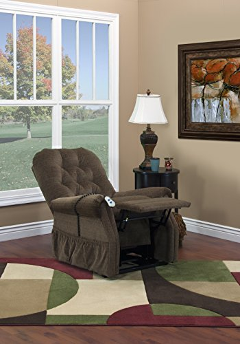 (Lift Chair Power Recliner by Motion Products - Full Power Reclining, Luxury Wide Seat, Free Luxury Lumbar or Donut Cushion- Med Lift Trusted USA Made Brand)