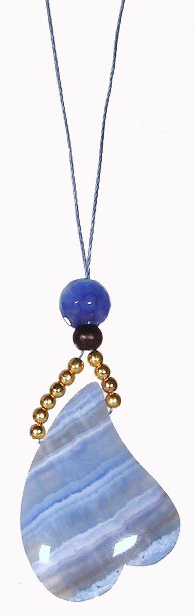 Blue Lace / Heart Chakra Necklace / Naga Land Tibet Sacred Stones Amulet