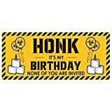 TICIAGA Quarantine Birthday Banner for Adults, HONK IT'S My Birthday Banner, Bday Party Decorative Banner for Kids, 63''X27'' Durable Satin Backdrop, Outdoor Lawn Yard Sign Flag with 4 Metal Grommets