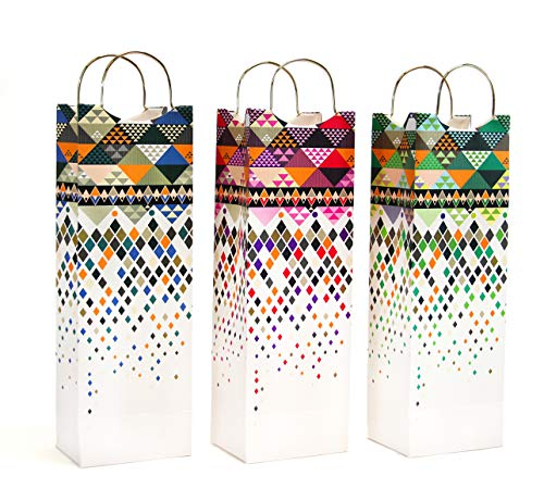 12 CT(1 Dozen), Wine Gift Bags, Luxury Patterned Wine Bag with 3 Designs Liquor or Beer Gift Bags, Single Bottle Tote Perfect for Weddings, Birthdays, Housewarming and Dinner Parties