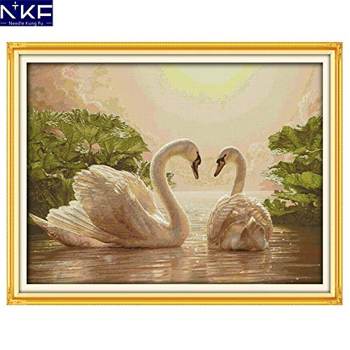(Ochoos Two Swans Animal Style Counted Needlepoint Patterns Chinese Cross Stitch Embroidery Kits for Home Decoration - (Cross Stitch Fabric CT Number: 11CT Counted Fabric))