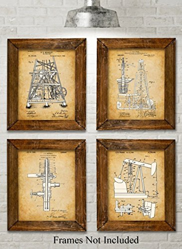 Original Oil Rig Patent Art Prints - Set of Four Photos (8x10) Unframed - Great Gift for People in the Petroleum (Oil Rig)