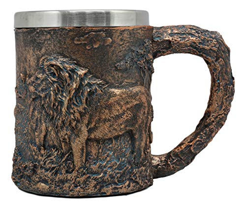 Ebros Animal Totem Spirit Lion And Lioness Pride Mug Textured With Rustic Textured Tree Bark Design In Painted Bronze Finish 12oz Drink Beer Stein Tankard Coffee Cup (Lion - Mountain Spirit Figurine