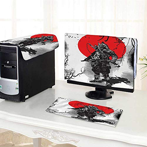 Auraisehome One Machine LCD Monitor Keyboard Cover Portrait of Skilled Educated Aristocrat Ancient Knight with His Weapon Man of War dust Cover 3 Pieces /29